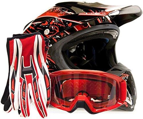 Adult Offroad Helmet Goggles Gloves Gear Combo Red Splatter  Large