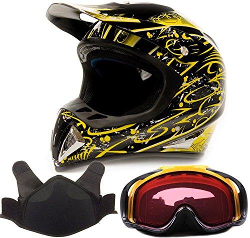 Adult Snocross Snowmobile Helmet Goggle Combo - Yellow  Yellow  Large