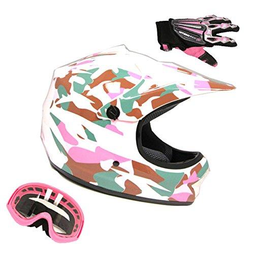Motocross MX BMX Bike Youth Pink CamoCamouflage Helmet  Goggle  Skeleton Glove