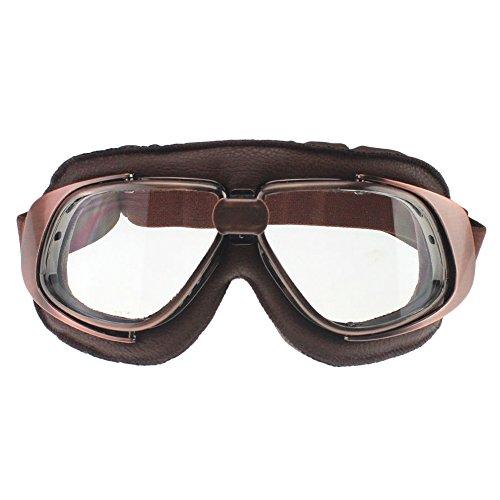 MotorFansClub Retro Goggles Aviator Pilot Motorcycle Half helmet Goggle Sun UV Wind Eye Protect GlassesT10Clear