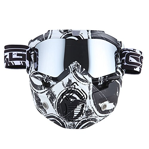 Motorcycle Goggles Mask Detachable for Motocross Helmet Goggles use Tactical Airsoft Goggles Mask Eagle White with Tinted Lens