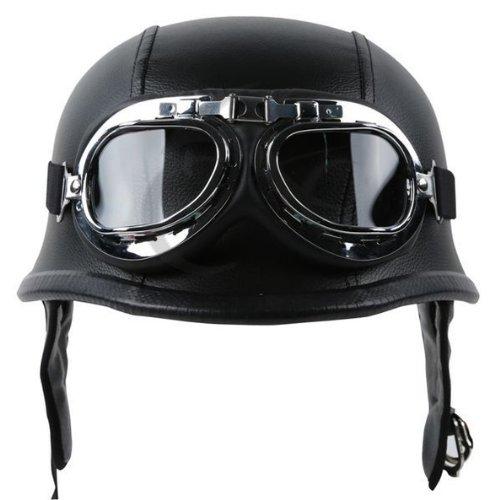 TCMT Dot Adult German Style Black Leather Half Helmet Motorcycle Chopper Cruiser Biker HelmetGoggles XL
