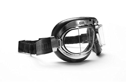 Vintage Motorcycle Goggles with Antifog and Anticrash Squared Lenses - Chromed Steel Frame - by Bertoni Italy - AF193CR Black Motorbike Aviator Helmets Goggles