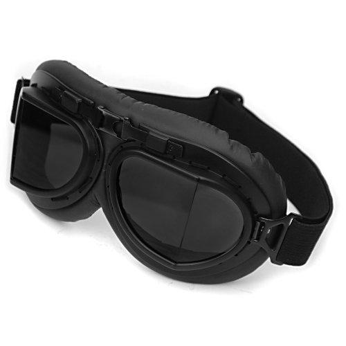 WWII RAF Vintage Aviator Pilot Style Motorcycle Café Racer Cruiser Touring Helmet Goggles Black Frame