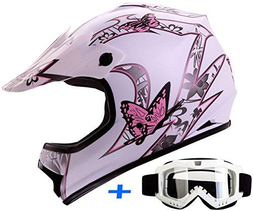 Youth Kid Motocross Motorsport ATV UTV Dirt Bike Helmet Goggles Combo Deal DOT XL Butterfly