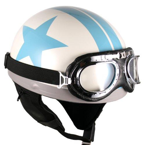 Goggles Vintage German Style Half Helmet White Blue-star  Large Motorcycle Biker Cruiser Scooter Touring Helmet