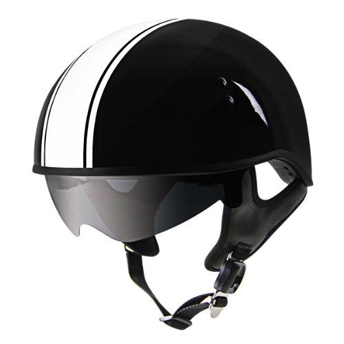 Outlaw V5-33 White Strip with Visor Motorcycle Half Helmet - Large
