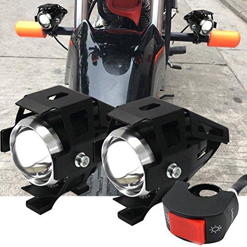 Motorcycle LED Headlight Truck Spotlight U5 ATV Fog Light Boat Driving Lighting Offroad Auxiliary Lamp Mini Front Daylight 12v 24v High Low Beam Strobe Modes w Toggle Switch White
