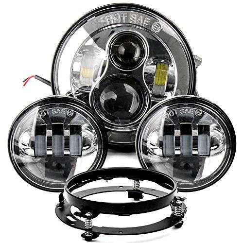7 LED Projector Daymaker Headlight 45 Passing Lights Ring Bracket for Harley for Harley Davidson Fat Boy EFI FLSTFI 2001-2006