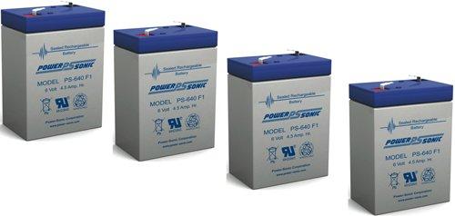 Power-Sonic - PS-640 6V 45AH SLA BATTERY FOR APC  RBC  EXIT LIGHTING - 4 Pack - PS-640FMP411