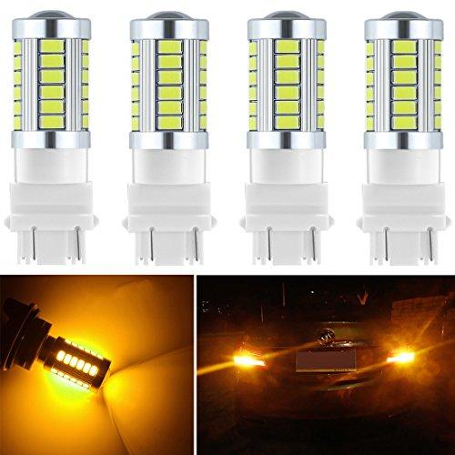 Botepon 4Pcs 3157 T25 3056 3156 3057 Amber Yellow Led Bulb 900 Lumens Extremly Bright 5630 Chipsets 33-SMD for Turn Signal Lights Corner Lights Blinker Lights 12V