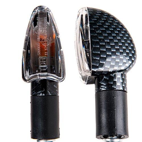 TDH Universal 2pcs Amber Bulb Motorcycle Turn Signals Indicators Blinkers Lights Carbon Look