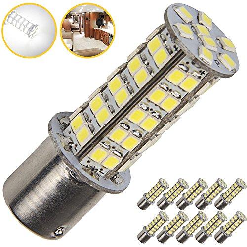 10 x Super Bright 1141 RV Interior LED Light 1156 1003 BA15S 68-SMD Camper Trailer Turn Signal Lamp Bulb 12V Landscape Pathway Outdoor10-Pack Pure White 6000K-6500K Color Temputure