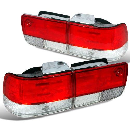 Spec-D Tuning LT-ACD924RPW-DP Honda Accord Ex Dx Lx 4Dr Sedan Red Clear Tail Lights Lamps Jdm
