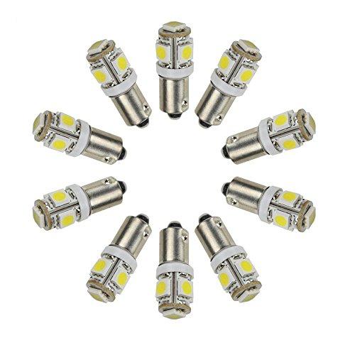 Pack of 10 12V Super Bright White BA9S 5050 5SMD 1895 T4W 1445 6253 LED Light Bulbs for Interior Car Lights License Plate Dome Map Courtesy Side Marker Turn Light Bulb