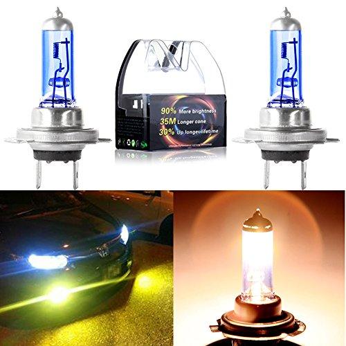 Turn Signal Fog LightsCCIYU 4500K Super White Xenon HID Halogen H7 Headlight Bulbs for Low Beam Pack of 2pcs
