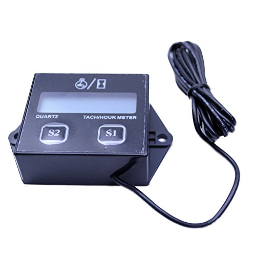 FLYPIG Spark Plugs Engine Digital Tach Hour Meter Tachometer Gauge Motorcycle ATV