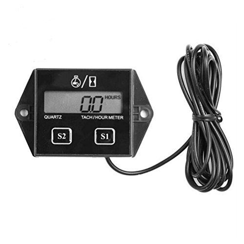 Foxnovo Spark Plugs Engine Digital Tach Hour Meter Tachometer Gauge black