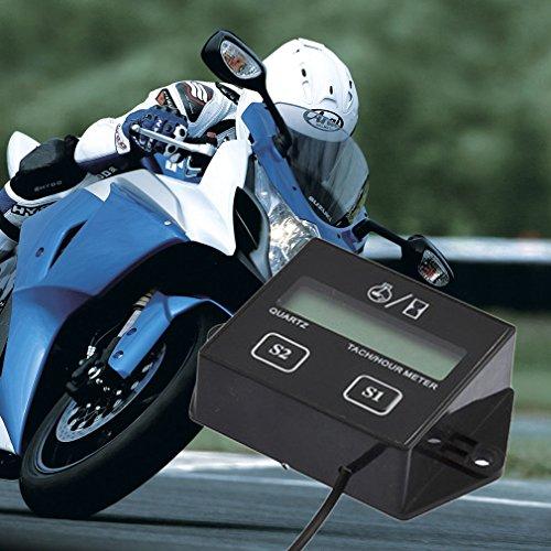 Kingsea Spark Plugs Engine Digital Tach Hour Meter Gauge Tachometer Motorcycle Bike