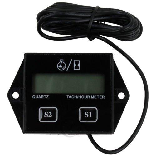 TCMT Black Digital Tach Hour Meter Tachometer Gauge For Dirt bike ATV UTV Gas Engines