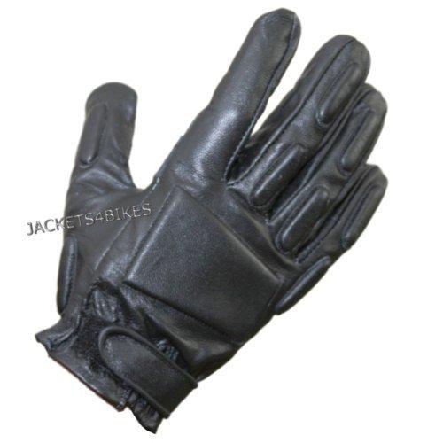 Police Biker Short Motorcycle Leather Gloves Black L