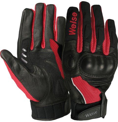 Weise - Airflow Plus - Mesh Motorcycle Glove - Black / Red - Medium