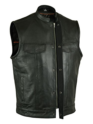MENS SONS OF ANARCHY SOFT LEATHER VEST WITH 2 GUN 2 CHEST POCKETS SINGLE BACK PANEL 2XL BLACK