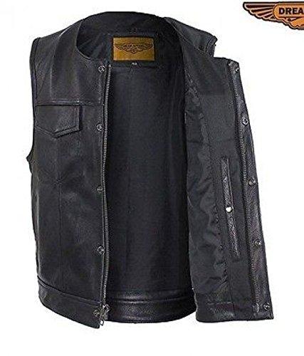 Mens Motorcycle 10 Pocket Distressed BRN Side Lace Soft Leather Vest Gun Pocket54