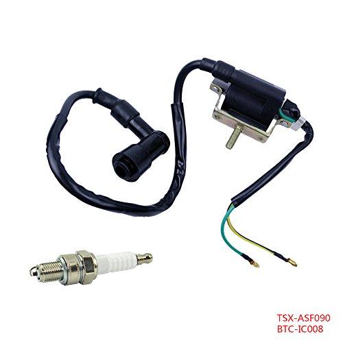 FLYPIG 2-Wire Ignition Coil  Spark Plug A7TC for 4-Stroke 50cc 70cc 90cc 110cc 125cc ATV Dirt Bike Go Kart Quad 4 Wheeler HONDA XR50 CRF50