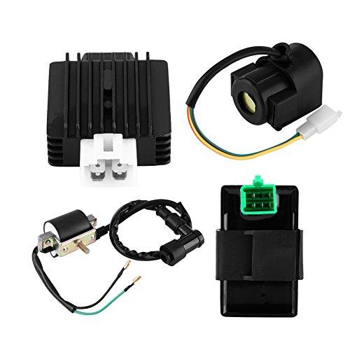 Voltage Regulator Rectifier for ATVIgnition CoilCDI BoxRegulator RectifierStarter Relay for Chinese ATV EgineQuad 50CC 70CC 90CC 110CC 4pcs Set
