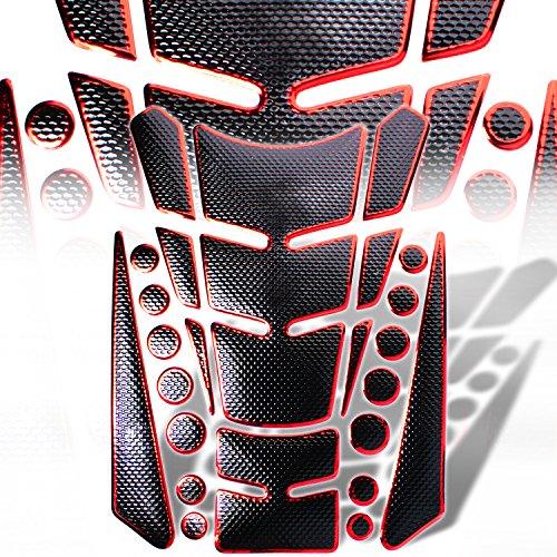 eMUSA 3D 13pcs Customize Fuel Tank Pad Protector Decal  Sticker Black Gel  Chrome Red 8 x 6