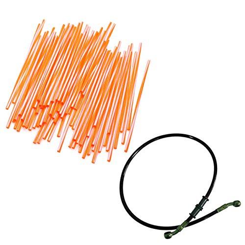 JRL 240mm Orange Wheel Spoke Wraps Skins Coat Trim Cover&90cm Black Fuel Line Motorcycle Motocross Dirt Bike