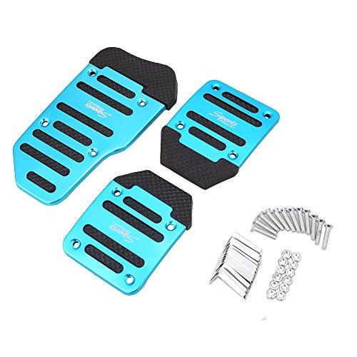 Sedeta Blue Car Non-Slip Manual Brake Pedal Pad Clutch Accelerator Foot Treadle Pedal Pads Board Set