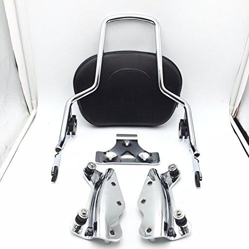 HTT Group Motorcycle Chrome Sissy Bar Passenger Backrest and 4 Point Docking Kit For Harley HD Touring 2009-2013