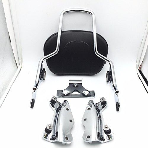 SMT Motorcycle Chrome Sissy Bar Passenger Backrest and 4 Point Docking Kit For Harley HD Touring 2009-2013