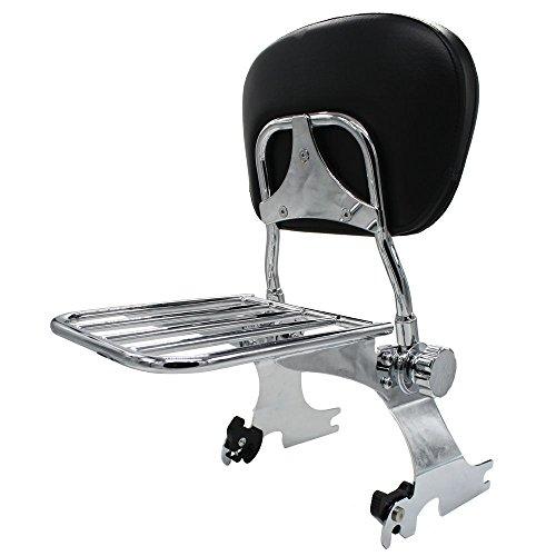 BBUT Chrome Detachable Adjustable Passenger Sissy bar Backrest With Luggage Rack For Harley Sportster 1994 1995 1996 1997 1998 1999 2000 2001 2002 2003