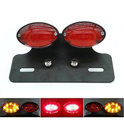 Heinmo Motorcycle Dual Cat Eye Tail Light Custom License Plate Holder Rear Light Black Holder Brake Light Tail Light Turn Signal Light