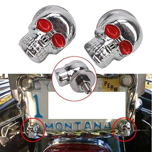 Jade Universal 6mm License Plate Fastener-Skeleton Chrome Skull Red Eye Car Motorcycle Tag Frame Bolt Nuts Screws Fits Hotrods Trailer