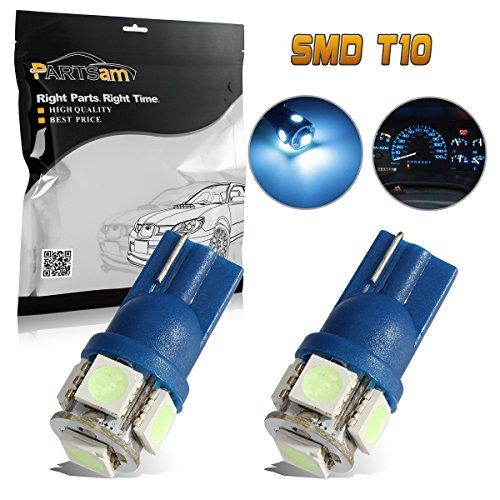 Partsam 2pcs Ice Blue T10 194 168 Wedge 5-5050-SMD LED License Plate Light Lamp Bulb 12V
