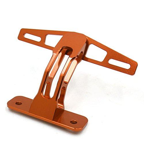 uxcell Orange Aluminum Alloy Rear License Plate Frame Bracket Holder for Motorcycle