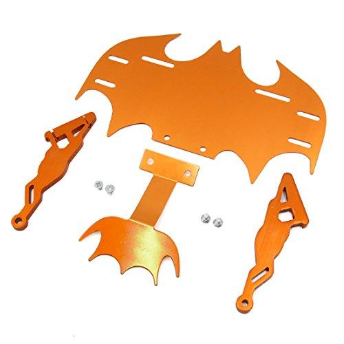 uxcell Orange Bat Shape Adjustable Rear Tail License Plate Frame Bracket for Motorcycle