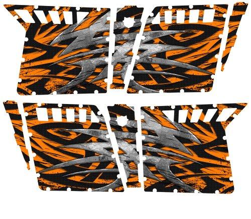 CreatorX Polaris Rzr4 Graphics Kit For Rzr 4 Pro Armor Doors Decals Bolt Thrower Orange