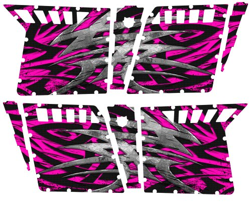 CreatorX Polaris Rzr4 Graphics Kit For Rzr 4 Pro Armor Doors Decals Bolt Thrower Pink