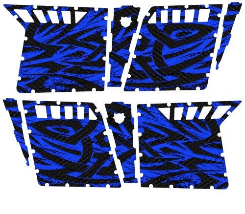 CreatorX Polaris Rzr4 Graphics Kit For Rzr 4 Pro Armor Doors Decals Tribal Madness Blue