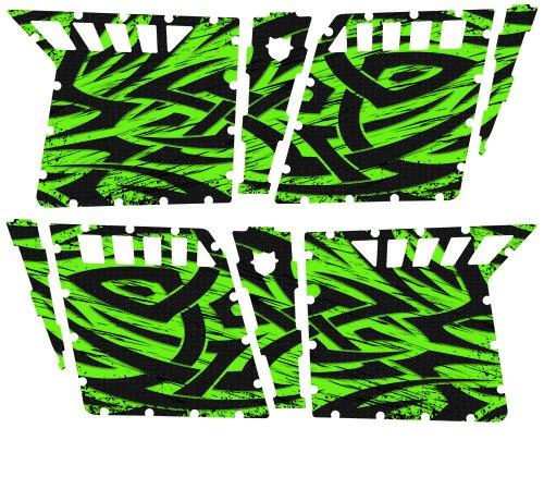 CreatorX Polaris Rzr4 Graphics Kit For Rzr 4 Pro Armor Doors Decals Tribal Madness Green