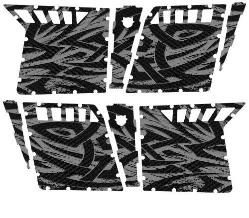 CreatorX Polaris Rzr4 Graphics Kit For Rzr 4 Pro Armor Doors Decals Tribal Madness Silver