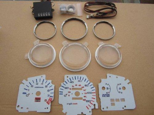 92 93 94 95 Honda Civic EX LX MT Manual Transmission 7 Color White Face LED Glow Gauges Dash Light Kit