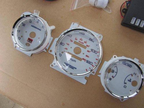 96 97 98 99 00 Honda Civic EX LX MT Manual Transmission 7 Color White Face LED Glow Gauges Dash Light Kit