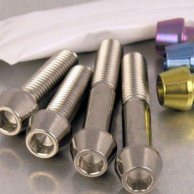 Titanium Pillion Footrest Hanger Bolt Kit Gold