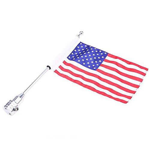 WinllyAT Luggage Rack Vertical Rear Side Mount Flag Pole With American Flag USA For Harley Davidson Honda Suzuki Yamaha
